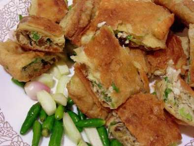 Recipe Deep fried beef and vegetables wrap (martabak telor)