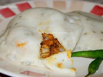 Recipe Meenpathiri (steamed rice pancakes filled with rich fish masala)
