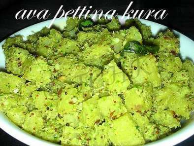Recipe Aratikya ava pettina kura...raw plantains cooked in mustard paste