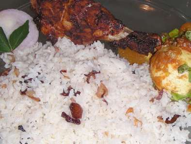 Recipe Ghee rice with grilled chicken legs (ney chor & kozhikkalu porichathu) and awards