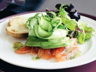 Recipe Vodka cured salmon salad with sweet mustard dressing