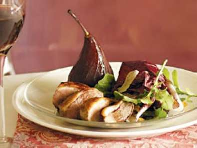 Recipe Roast duck with red wine poached pears