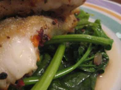 Recipe Pan fried cod fillet on a bed of stir fried chinese spinach