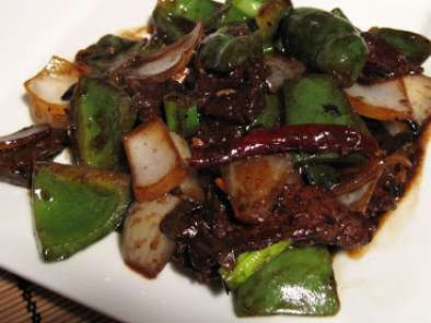 Recipe Beef and green peppers in black bean sauce
