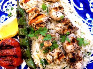 Recipe Sumac chicken shish kebabs & turkish rice pilaf w/ orzo