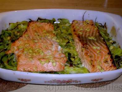 Recipe Ginger, lemon & honey marinated salmon on a bed