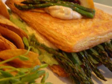 Recipe Vegan puff pastry sandwich filled with roasted asparagus