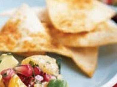 Spring pomegranate salsa and baked seasoned chips