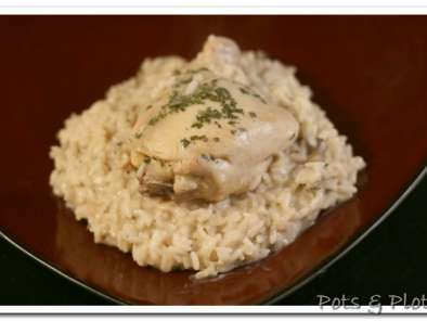 Recipe Chicken and rice in a white wine mushroom sauce