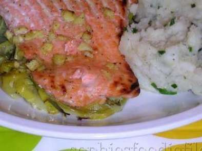 Recipe Gingered lemon & honey marinated salmon on leeks+new potato chiv