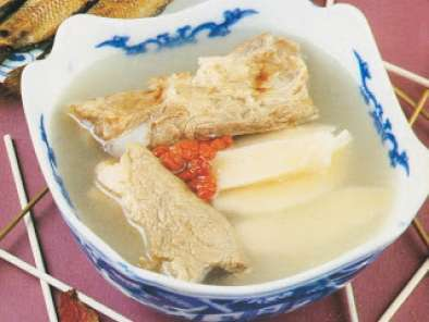 Recipe Chinese san pan fish soup with yam and medler