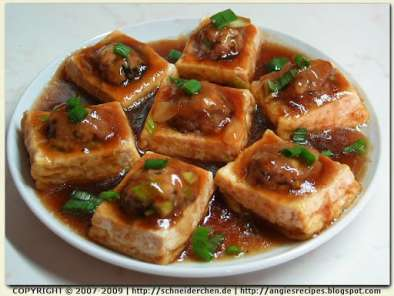 Recipe Pan-fried stuffed tofu with oyster sauce