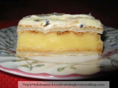Recipe Vanilla custard slice with passion fruit icing