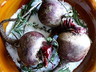 Recipe Salt roasted beets with goat cheese & toasted walnuts