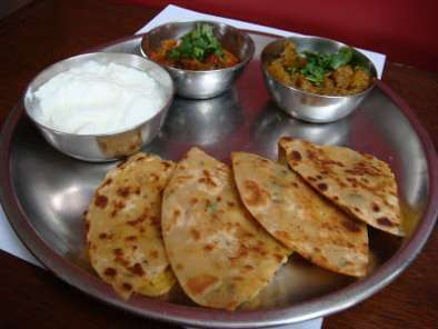 Recipe Chana dal paratha with tamatar ki chutney and khatta meetha kaddu