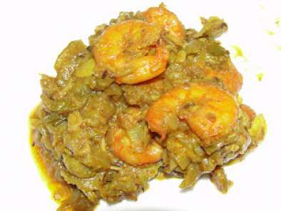 Recipe Beerakaya royyala kura/ ridge gourd shrimp curry