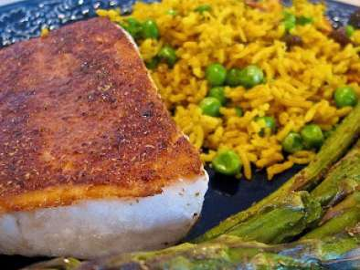 Recipe Jean-georges spiced mahi-mahi with masala hari matar pulau (savory rice & green pea pilaf)