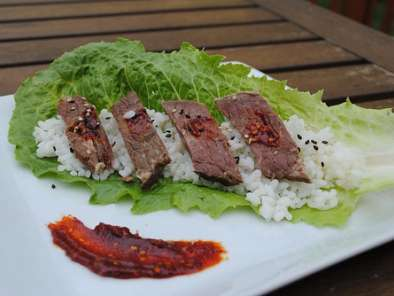 Recipe Korean bbq: marinated short ribs in lettuce leaves