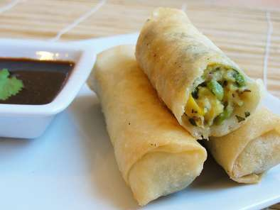 Recipe Roll up! roll up! paneer, sweetcorn and peas spring rolls