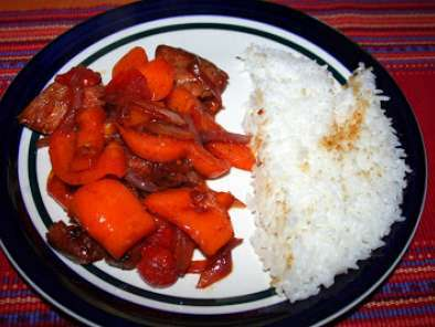 Recipe Teriyaki chicken with bell peppers and tomatoes