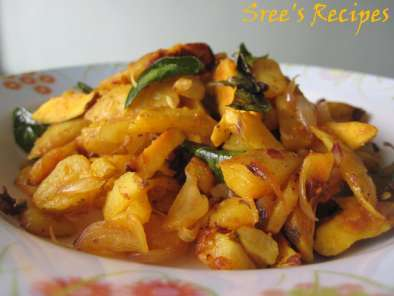 Recipe Potato chakkakuru mezhukkupuratti(stir fried jackfruit seeds and potatoes)