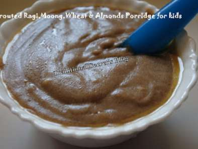 Recipe Sprouted ragi, moong, wheat & almonds porridge for kids