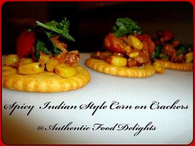 Recipe Spicy indian style corn on crackers