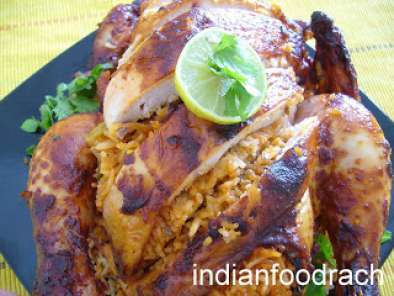 Recipe Roasted chicken stuffed with khushka/kuska/khusqa (biryani rice)