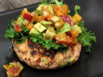 Recipe Chipotle salmon burgers with stone fruit salsa