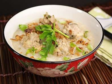 Recipe Rice congee with meatballs