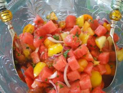 Recipe Heirloom tomato watermelon salad