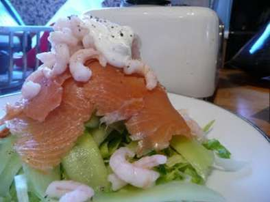 Smoked salmon and prawn, ribbon cucumber and lemon creme fraiche salad