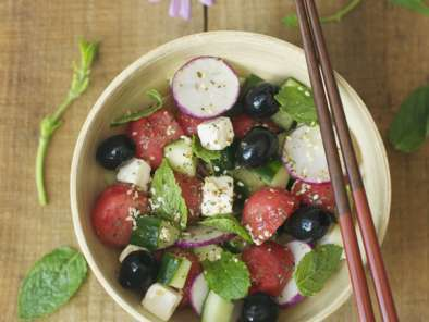 Recipe Watermelon, cucumber, olive and feta salad