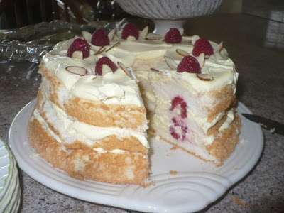 Raspberries Whip Over Angel Food Cake