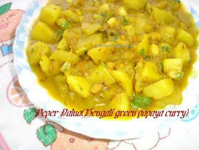 Appyayan : Peper Dalna (Bengali green papaya Curry)