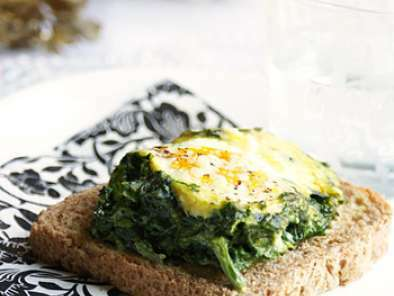 Baked eggs with spinach and Parmesan cheese, Photo 2