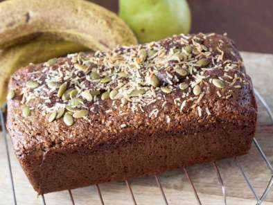 Banana Pear, date and nut cake