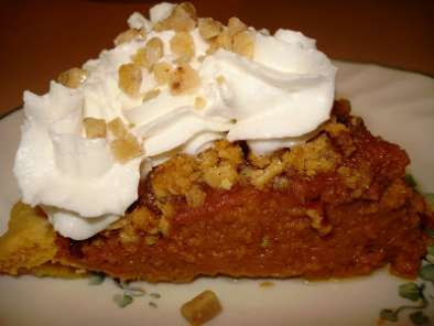 Birthday Treat: Pumpkin Apple Butter Pie with Toffee Struesel Topping