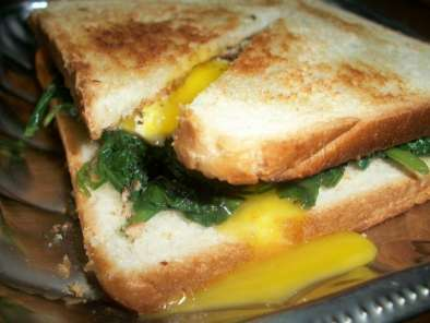Breakfast Sandwich with Spinach and Fried Egg