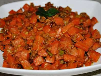 Carrot Fry (Carrots sauteed in South Indian spices with milk)