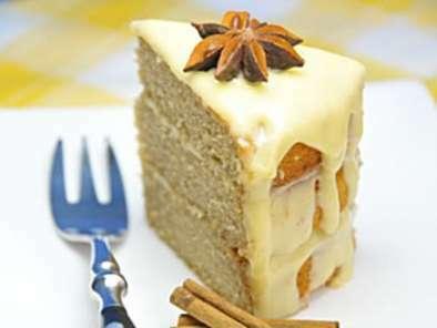 Chai Tea Cake With Honey Ginger Cream