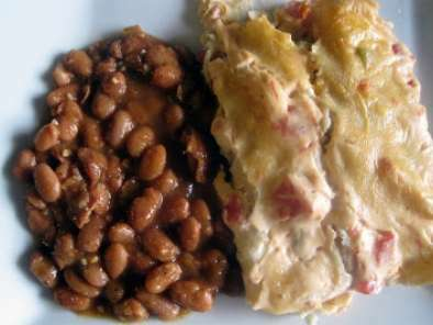 Chicken Enchiladas Smothered in Sour Cream Sauce and Borracho Beans
