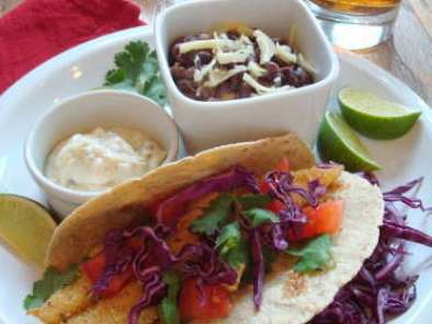 Corn-Crusted Fish Tacos with Jalapeno-Lime Sauce and Spicy Black