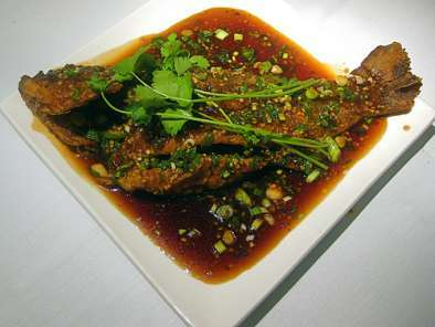 Fried Snapper in a Szechuan Garlic, Ginger Chili Sauce (Fish Roe included), Photo 2
