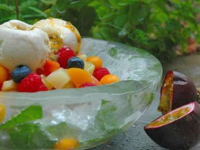 Fruit Salad with Passion Fruit and Vanilla Bean Ice-cream