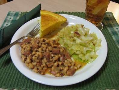 Happy New Year Black Eyed Peas & Fried Cabbage for Luck & Prosperity