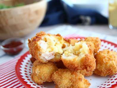 Macaroni fritters with bacon and cheese, photo 2