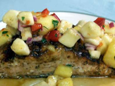 Just enjoy this recipe for Grilled Salmon With Pineapple-Banana Salsa.