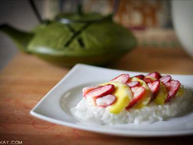 Coconut Sticky Rice with Mango & Strawberries