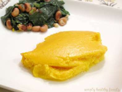 Butternut Squash Souffle with Sauteed Collard Greens